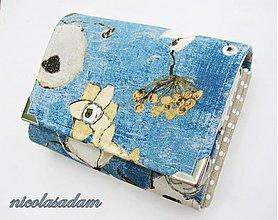 Peňaženky - Harmonika malá - modré máky 4-8karet + zip.kapsa - 1710874
