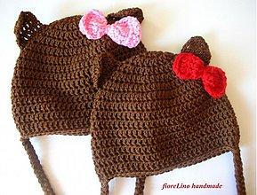 Detské čiapky - detská čiapka macko s mašličkou - 1716054