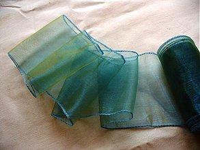 Galantéria - organzová stuha 11cm/ zeleno-tyrkys - 172218