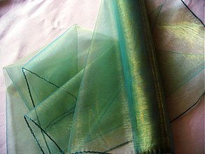 Textil - organza premenlivá/zlato-zelená - 172223
