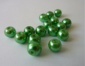 Korálky - Voskované perly , zelené, 6 mm- výpredaj! - 1723387