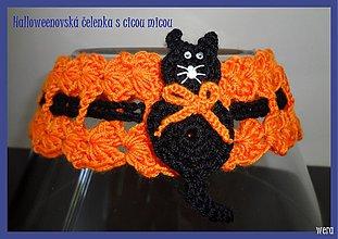Detské doplnky - Halloweenovská čelenka s mačičkou - 1723454