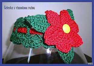 Detské doplnky - Vianočná čelenka s vianočnou ružou - 1723487