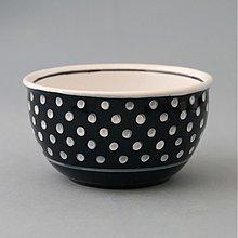 Nádoby - Miska na müsli, polévku puntík 12 černý - 1725012