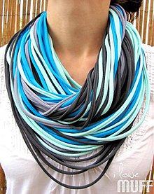 Šály - modro-šedé špagetky - 1733270