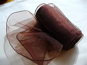 Textil - organzová stuha 11 cm horká čokoláda - 173366