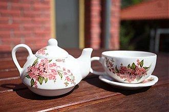 Nádoby - Čajník so šálkou malý - ružové nezábudky - 1736260
