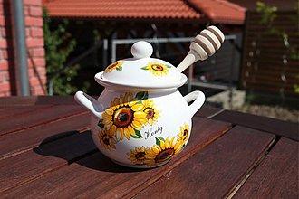 Nádoby - Nádoba na med s vrtieľkom 450 ml - slnečnica - 1738770