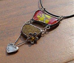 Náhrdelníky - Sklo, kameň, srdce, kvet - 1741718