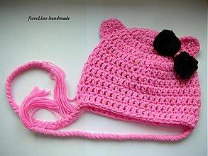 Detské čiapky - detská čiapka ružová s uškami - 1743038