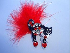 Odznaky/Brošne - Brošnička mačička s červeným pierkom:) - 1749495