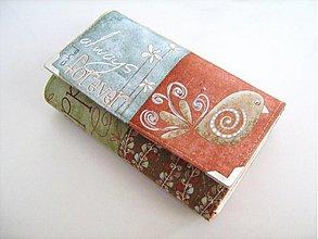 Peňaženky - Veselý ptáček Jarabáček mezi kvítky -15 X 10,5 :-) - 1750418
