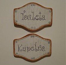 Tabuľky - Tabuľka - kúpeľňa , toaleta   .... štýl  vintage - 1752364