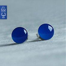 Náušnice - Bublinky ELECTRIC BLUE - stříbro - 1753206