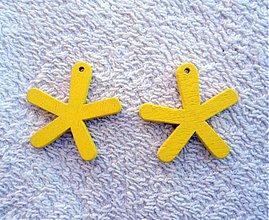 Korálky - Výsek drevený-25mm (žltá-1ks) - 1759392