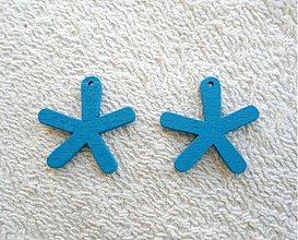 Korálky - Výsek drevený-25mm (modrá-1ks) - 1759409
