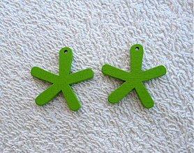 Korálky - Výsek drevený-25mm (zelená-1ks) - 1759422