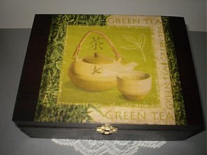 Krabičky - Čajová krabica 12 priečinkov - Green Tea čierna - 1777889