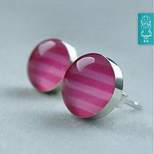 Náušnice - Růžové p(r)omyšlení - stříbro - 1790720
