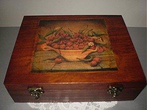 Krabičky - Morená čajová krabica - 12 priečinkov - motív čerešne - 1793532
