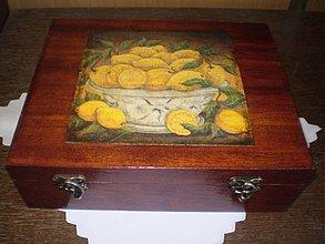 Krabičky - Morená čajová krabica - 12 priečinkov - motív citróny - 1793555