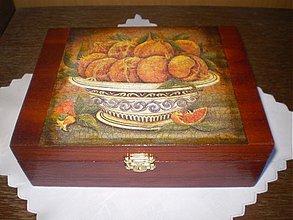 Krabičky - Morená čajová krabica - 12 priečinkov - motív granátové jablko - 1793565
