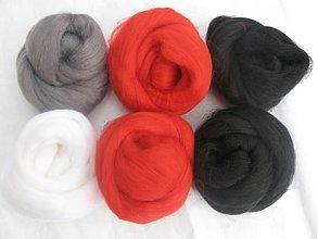Textil - Vlna na plstenie Merino - čiernočervená 60 g - 1797199