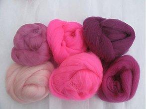 Textil - Vlna na plstenie Merino - sada ružová Barbie - 1797231