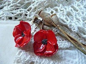 Náušnice - červené náušnice kvety-taká maková - 1804606