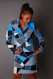 Kabáty - Modrá šitá mozaika - kostým - 1805049