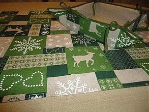 Úžitkový textil - Vianočná ľanová štola - sobiková - - 1806962