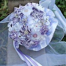 Kytice pre nevestu - Textilná svadobná kytica s brošničkami - 1815340