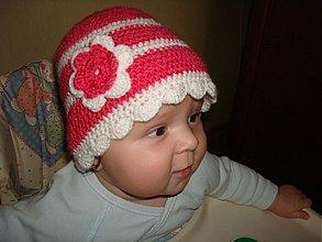 Detské čiapky - Ružovo biela čiapka - 1822046