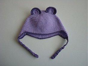 Detské čiapky - Medvedíková čiapočka fialová - 1822394