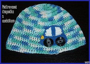 Detské čiapky - Melírovaná čiapočka s autíčkom - 1826159