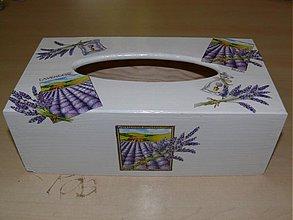 Krabičky - Krabica na vreckovky - motív Levanduľa - 1832354