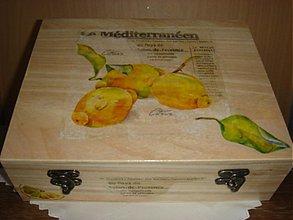 Krabičky - Čajová krabica - 12 priečinkov - motív citróny a písmo - 1842835