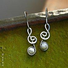 Náušnice - Husľové perleťové kľúče - 1851678