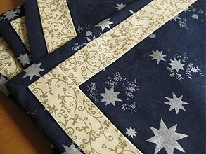 Úžitkový textil - vianočné prestieranie modré - 1858752
