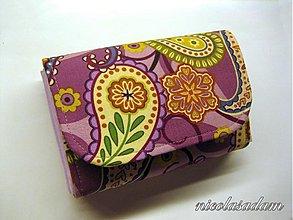Peňaženky - Harmonika malá - paisley růžovofialové - 1866023