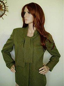Kabáty - Zeleno-hnedý kostým s viazačkou v.44- výpredaj 50%!!! - 1873539