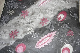 Šatky - Hodvábna šatka Polnočné kvety - 188826