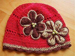 Detské čiapky - Červená s hnedým tónmi... - 189230