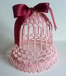 Dekorácie - Vianočný zvonec- veľký, ružový - 1903595