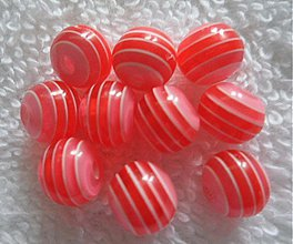 Korálky - Plast 8mm s prúžkom-10ks (sv.červená) - 1907445