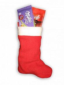 Dekorácie - Vianoce/Mikuláš - červená fleecová čižmička s uškom na zavesenie - väčšia - 1909473