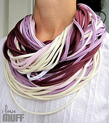 Šály - špagetky fialová kombinácia II - 1923851