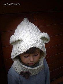 Detské čiapky - Háčkovaný nákrčník s kapuckou ... - 1932535