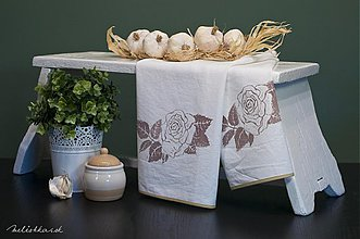 Úžitkový textil - Bavlnená utierka RUŽA biela (001) - 1935979