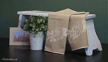 Úžitkový textil - Bavlnená utierka RUŽA hnedá (002) - 1936076